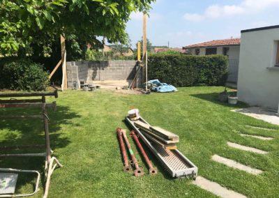 Construction d'un garage exterieur en brique